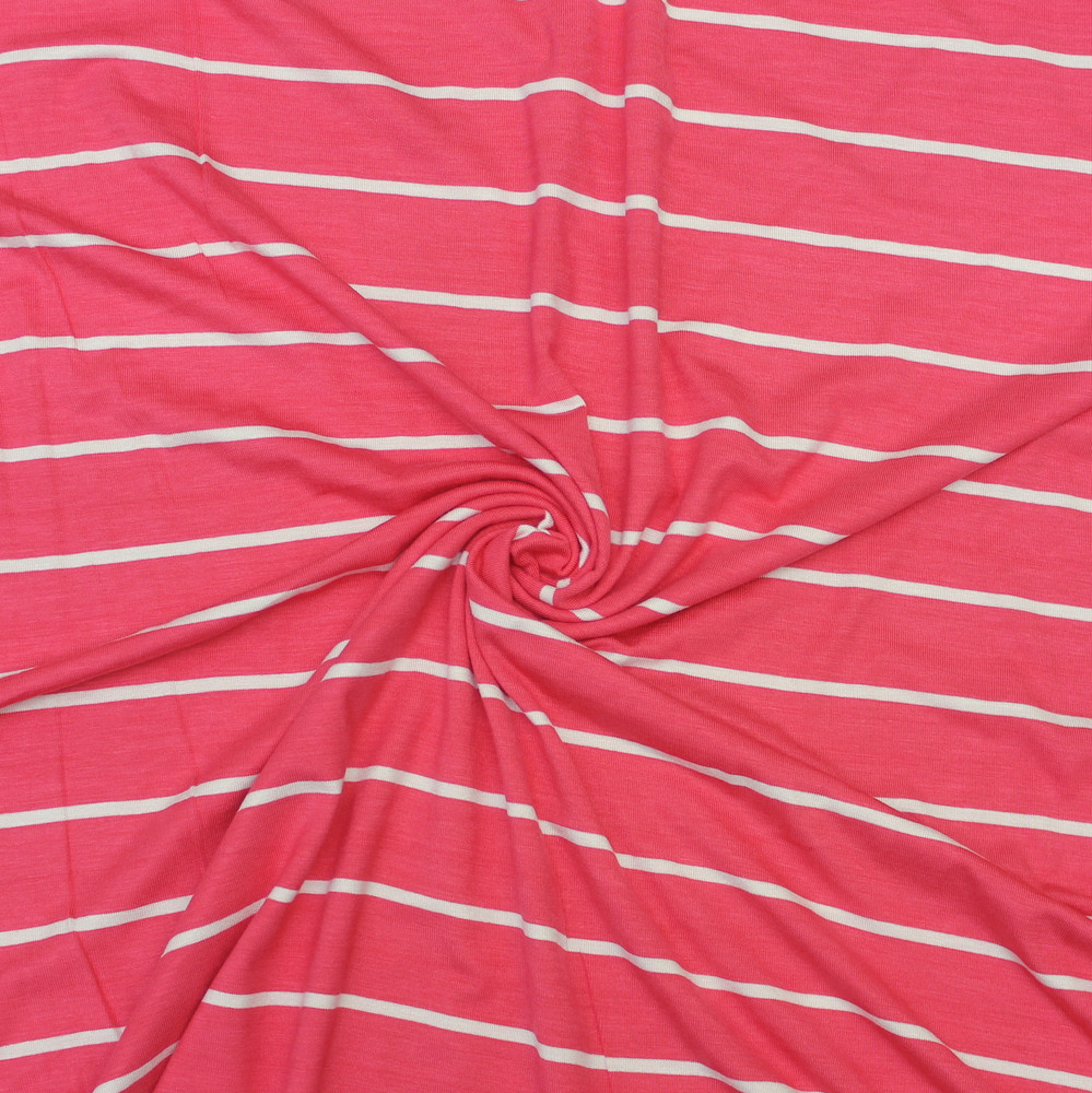 Coral and Off White Striped Rayon Spandex Jersey