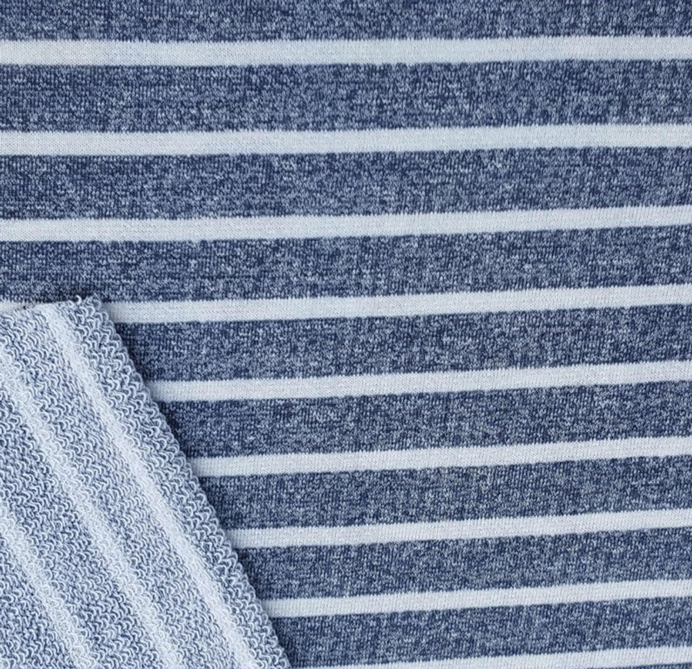 Denim and White Stripe French Terry Knit