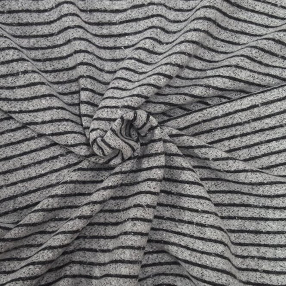 Black and Gray Stripe Brushed French Terry Knit