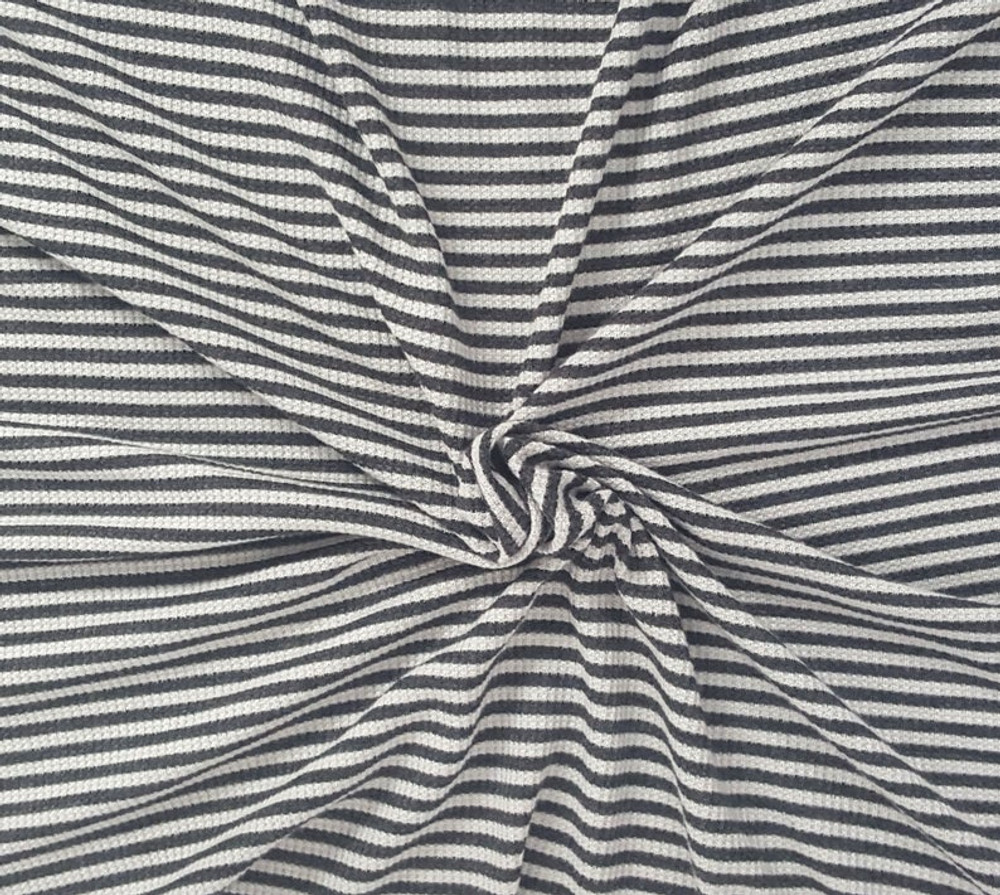 """Charcoal and Heather 1/4"""" Stripe Thermal Knit"""