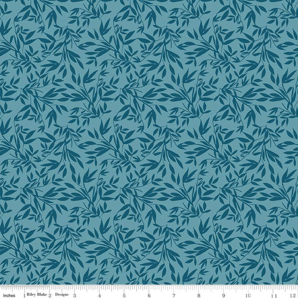 leaves in blue knit