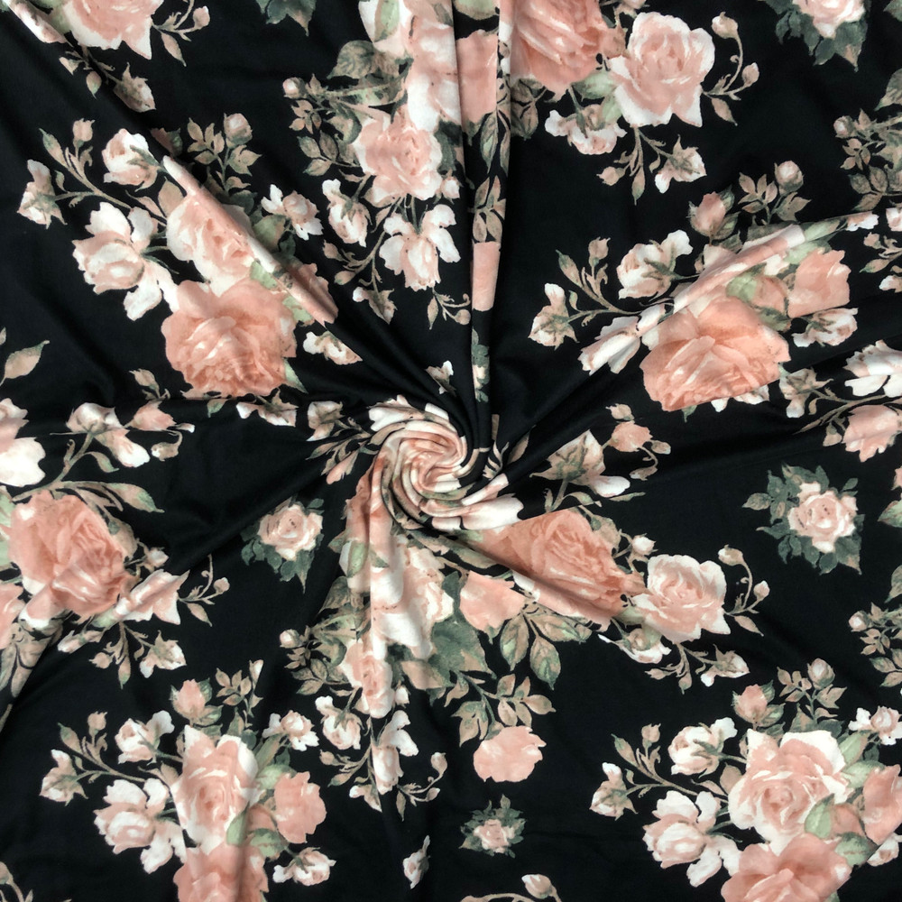 Roses on Black Double Brushed Poly