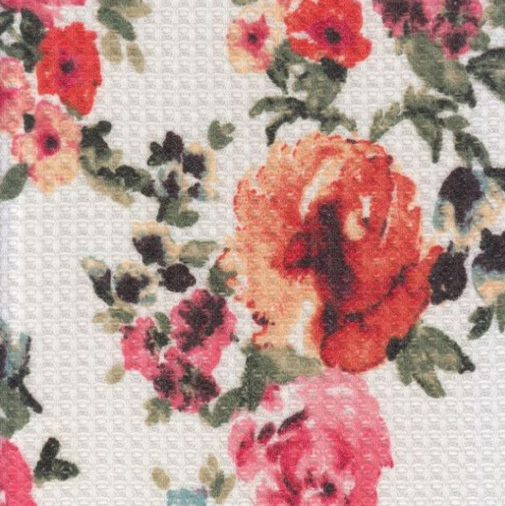 Ivory Floral Waffle Knit