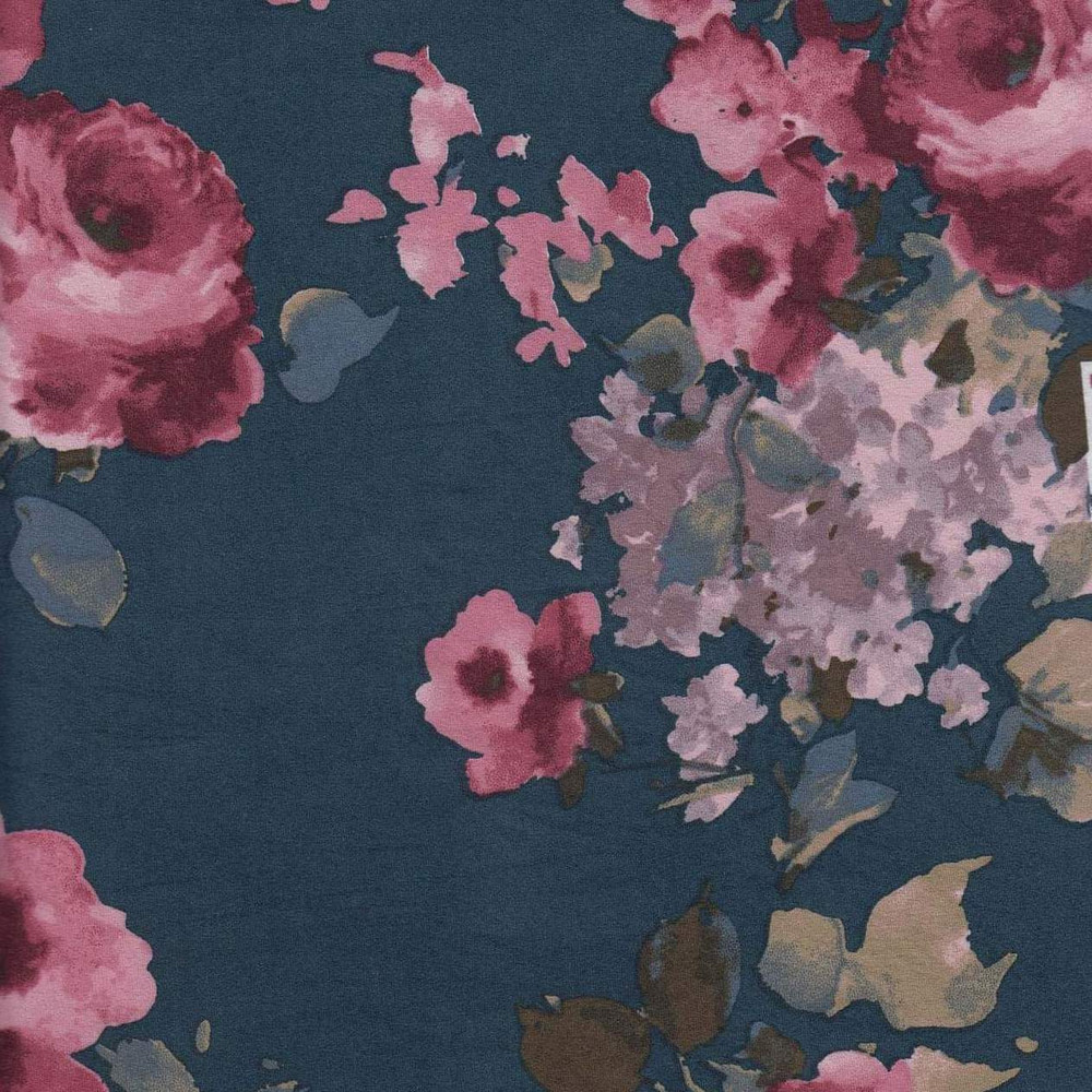 Ava Floral on Denim Blue Double Brushed Poly