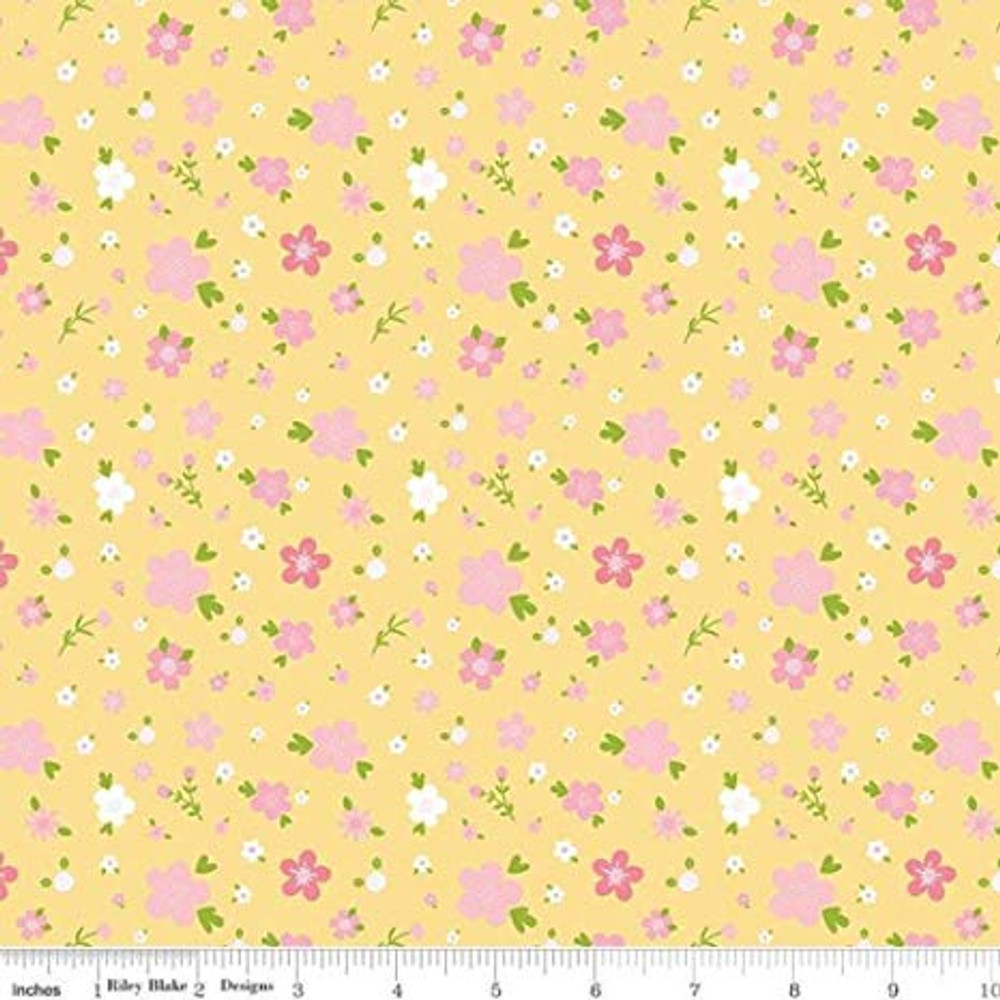 Riley Blake Sweet Baby Girl Yellow Floral Flannel