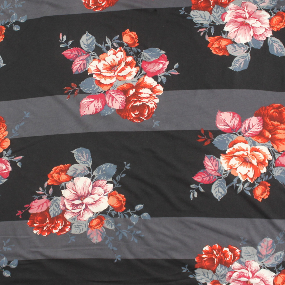 Charcoal Striped Floral Double Brushed Poly