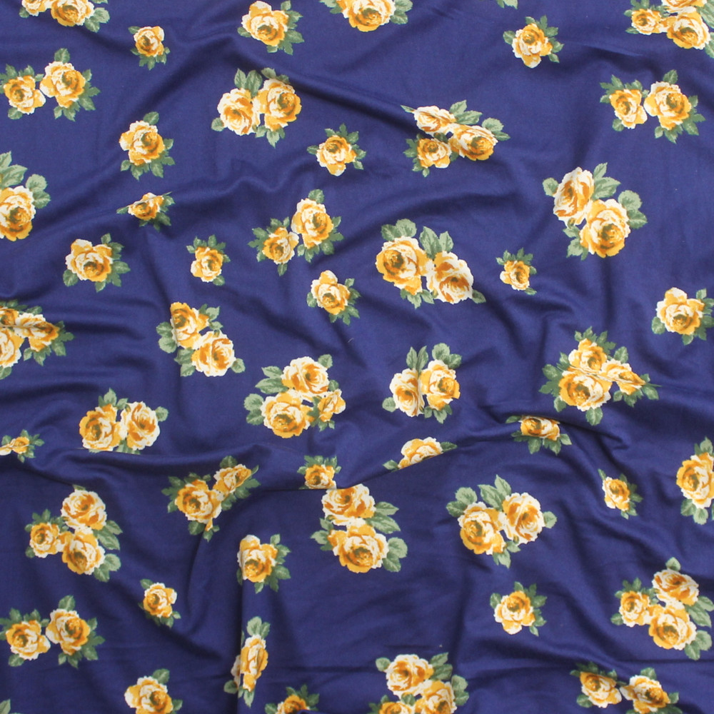 Mustard Roses on Blue Double Brushed Poly