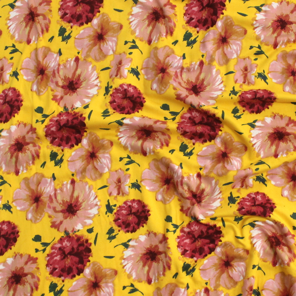 Floral Burst on Yellow Double Brushed Poly