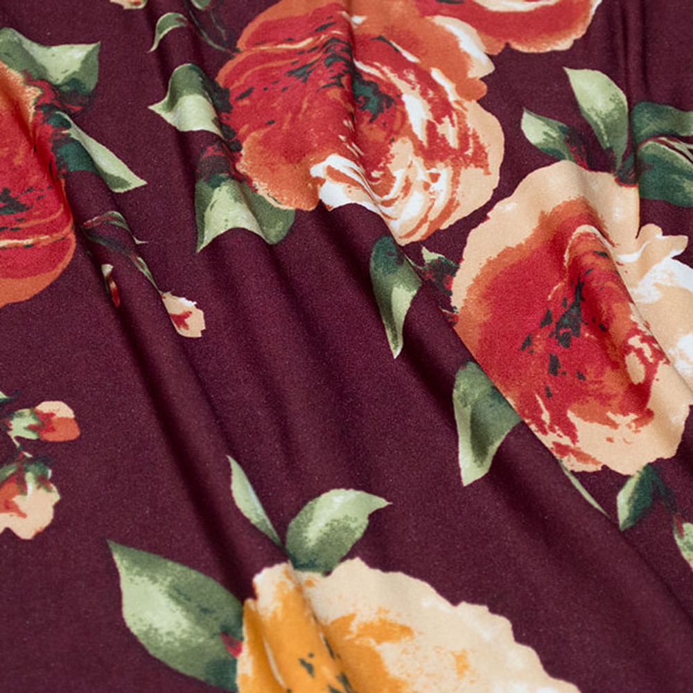 Burgundy Floral ITY Knit