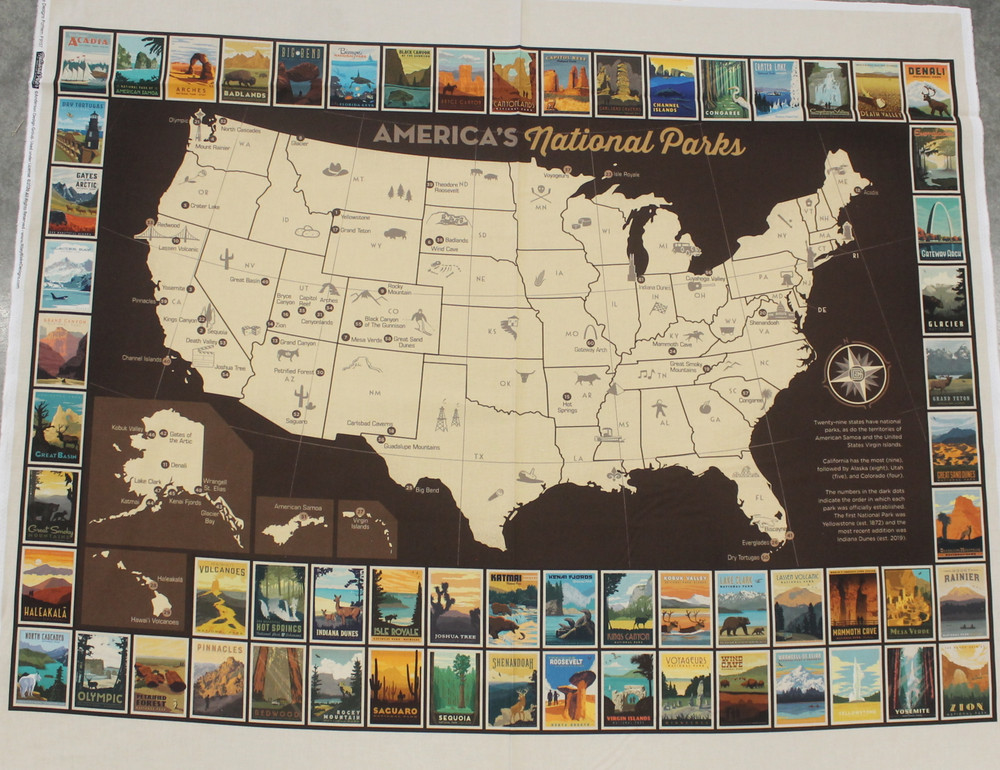 Riley Blake National Park USA Panel Map Quilting Cotton