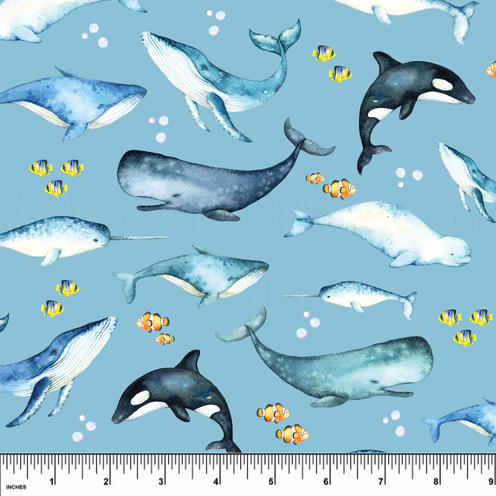 whales knit fabric