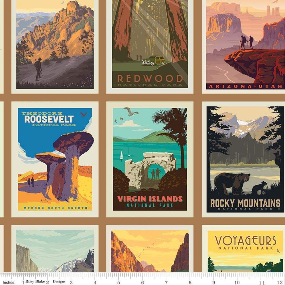 Riley Blake National Park Posters Sand Quilting Cotton