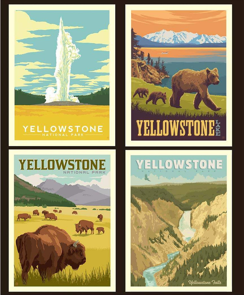 Yellowstone National Parks Pillow Panel Quilting Cotton