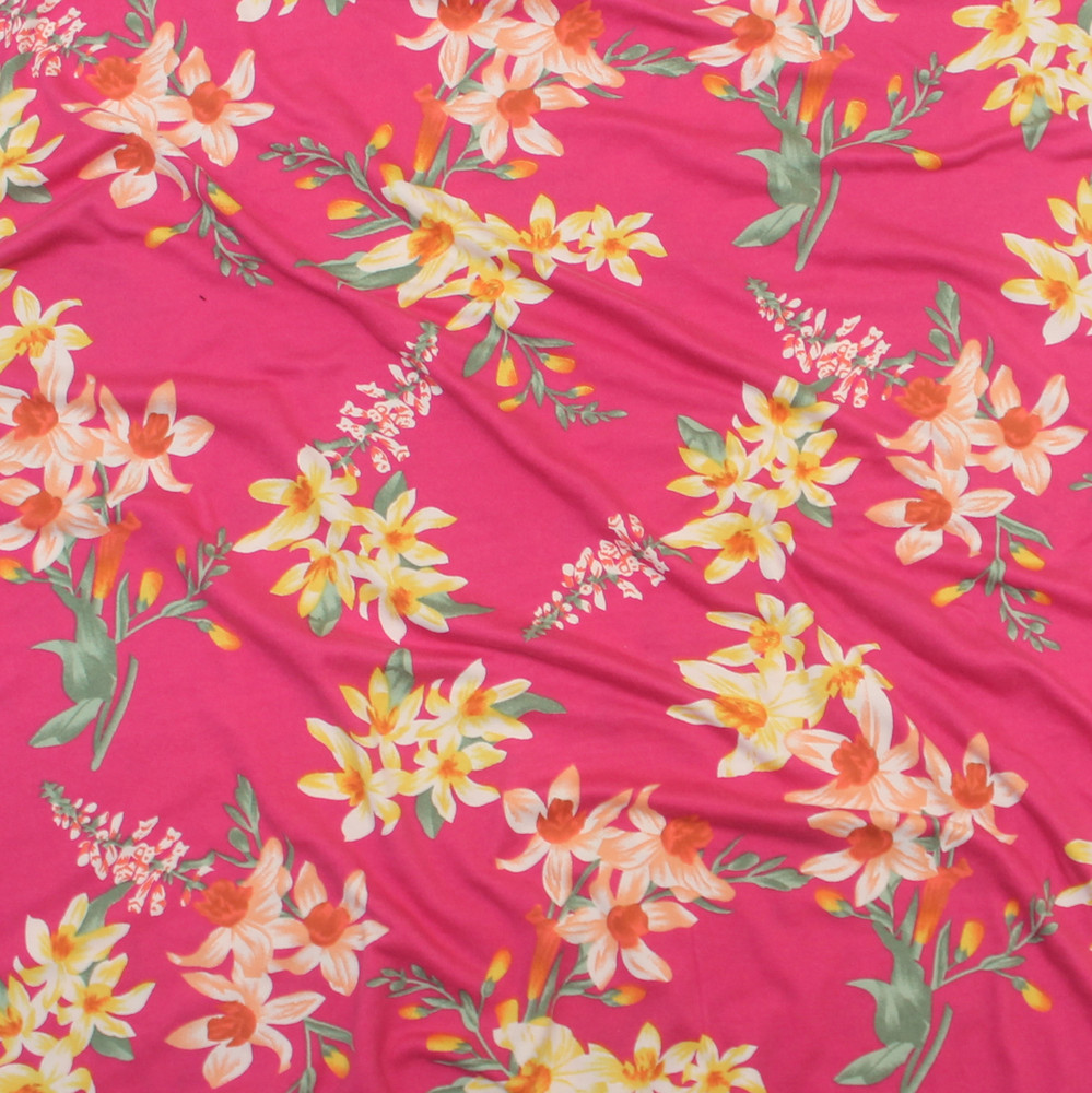 tropical floral on pink
