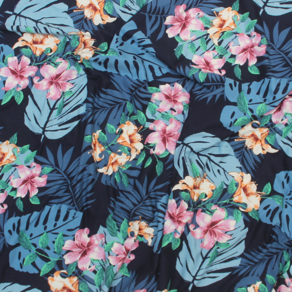 Blue Hawaiian Floral Double Brushed Poly