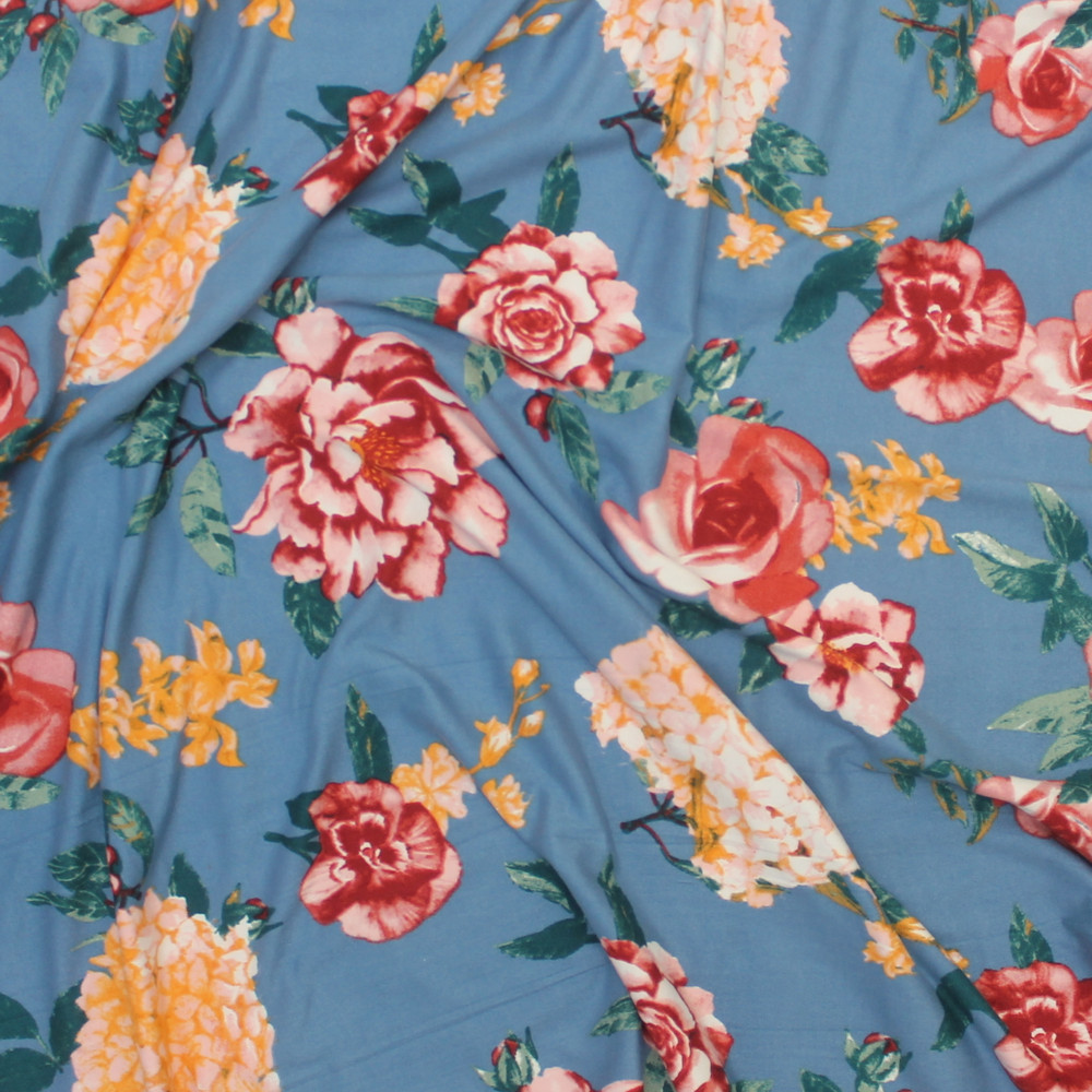 Roses on Dusty Blue Double Brushed Poly