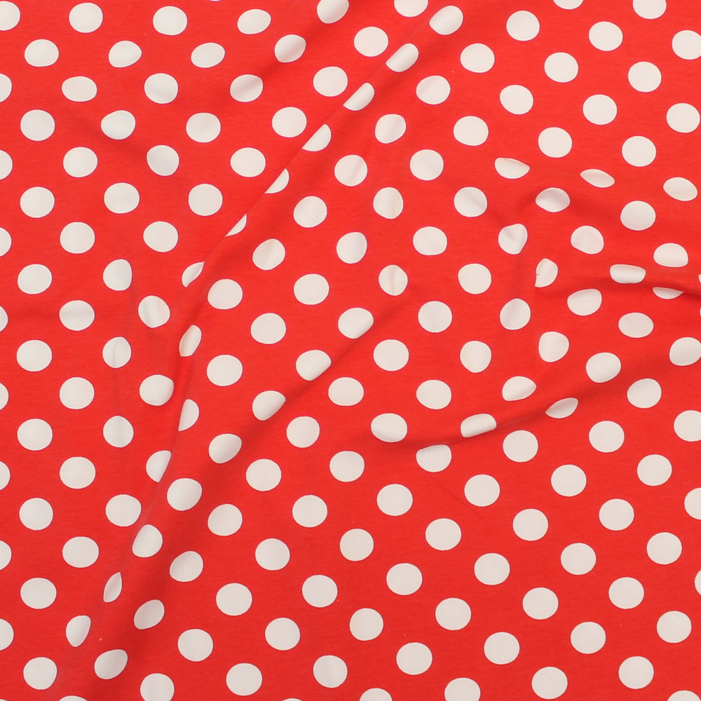 polka dots on red