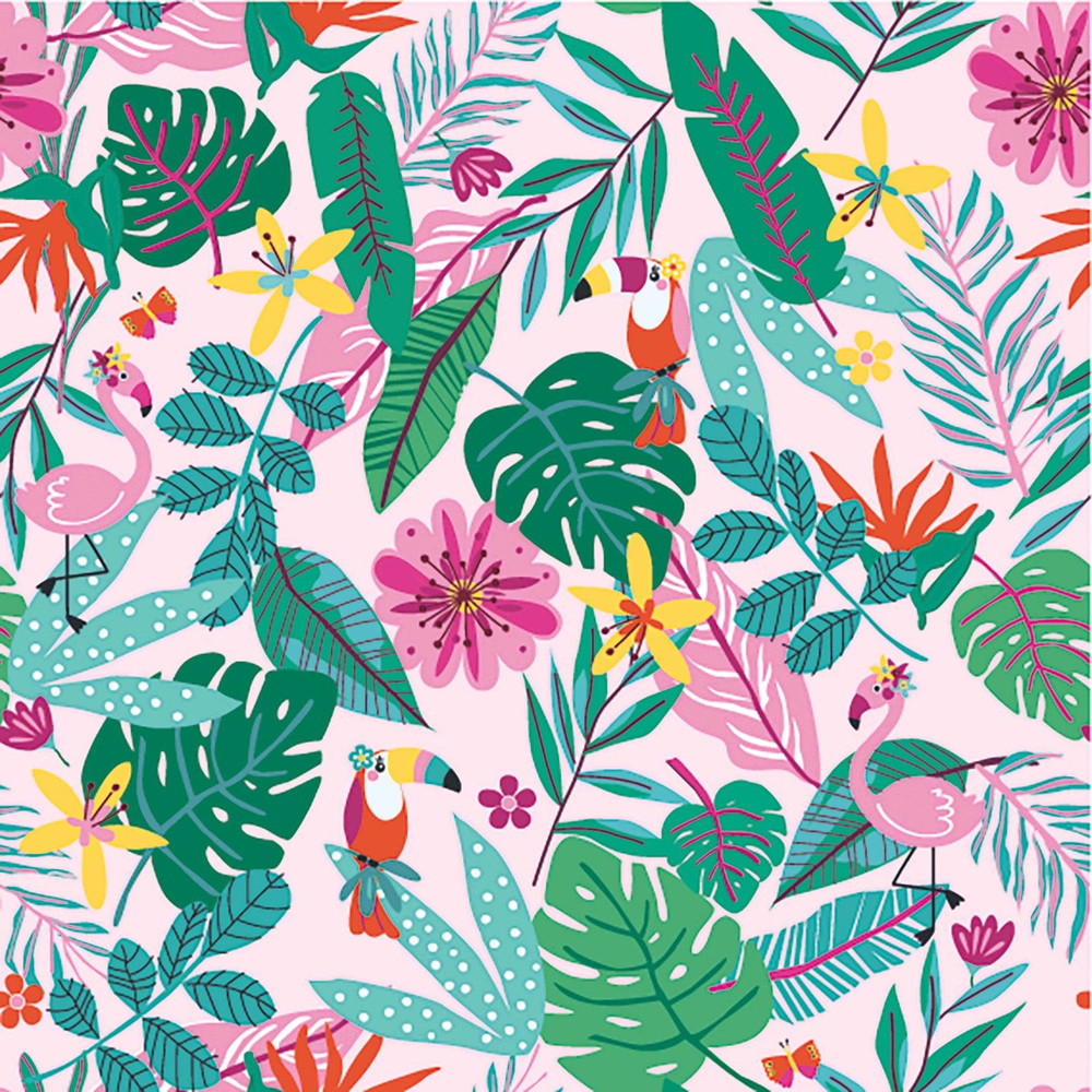 Toucans on Pink Cotton Lycra Knit