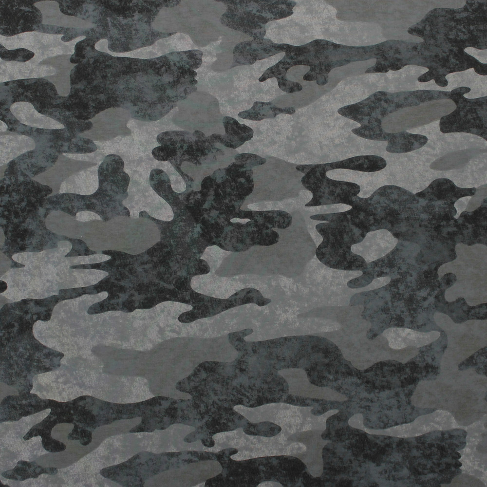 Charcoal Camouflage French Terry Knit