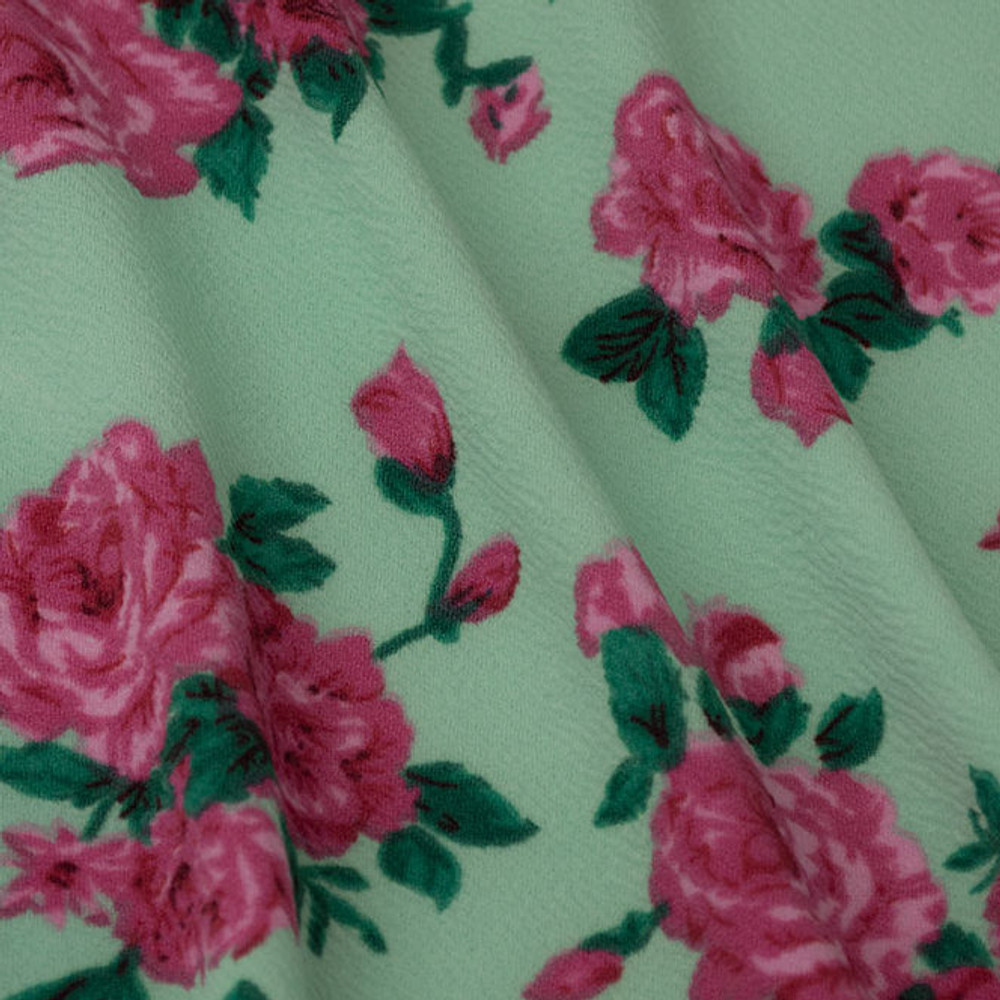 pink floral on mint