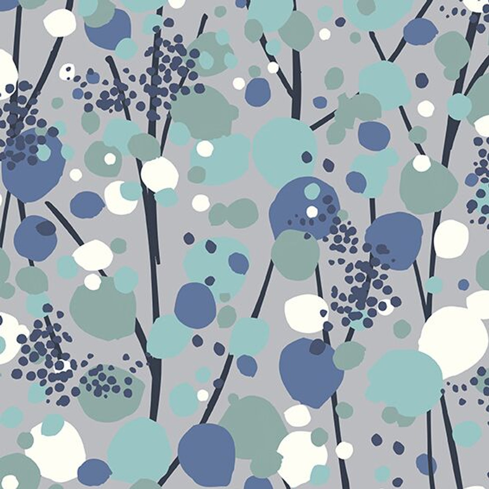 Stof Fabrics Mint and Gray Floral Knit