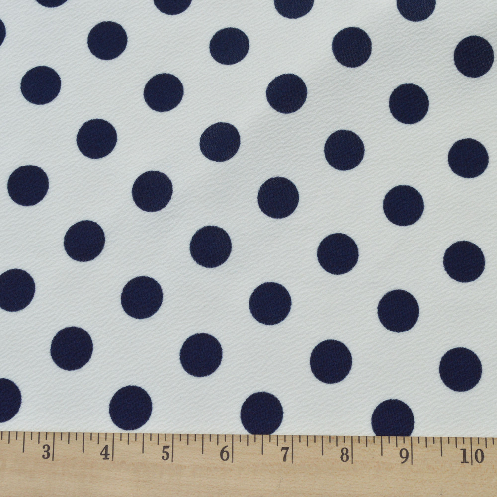 Navy Dots on White Liverpool Knit