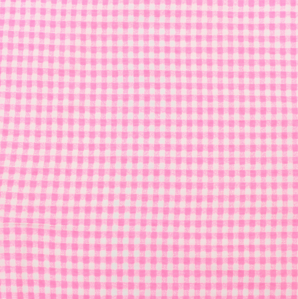 Knit Basics Pink Gingham Cotton Lycra Knit