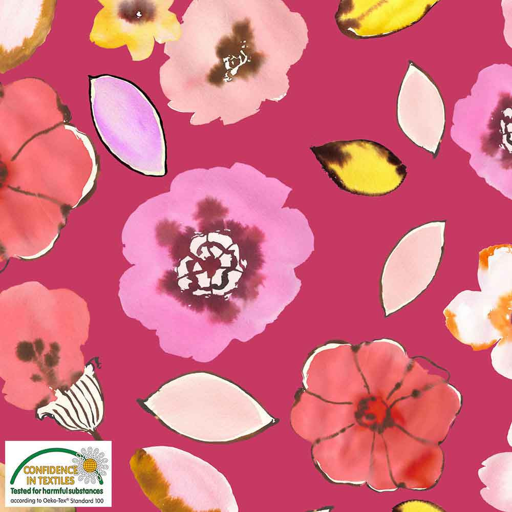 Stof Fabrics Blooms on Pink Knit