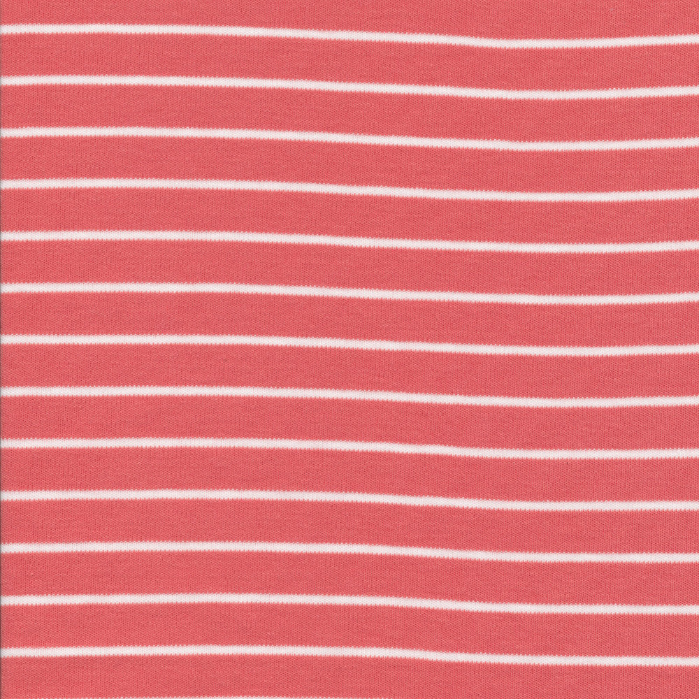 Cloud 9 Coral and White Stripes Organic Interlock Knit