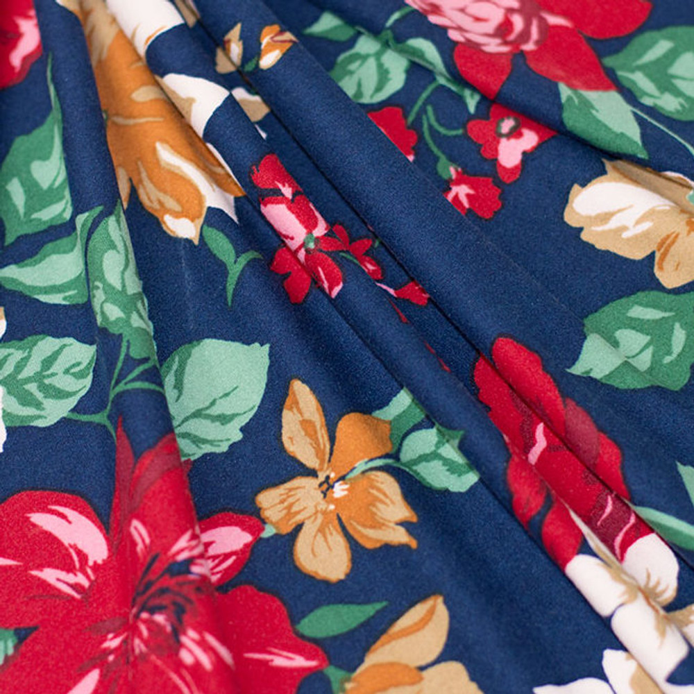 red floral on navy