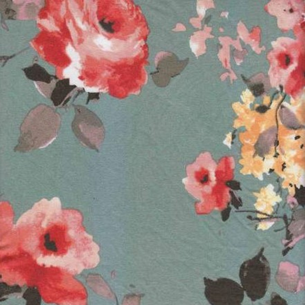 Katy Floral on Sage Double Brushed Poly