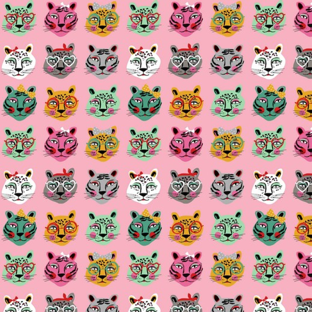 big cats on pink