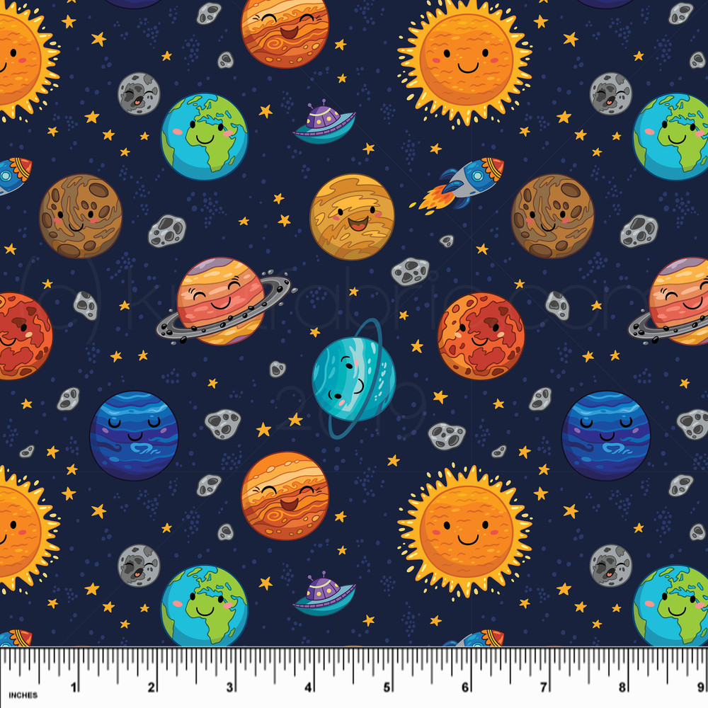 Mini Planets Cotton Lycra Knit