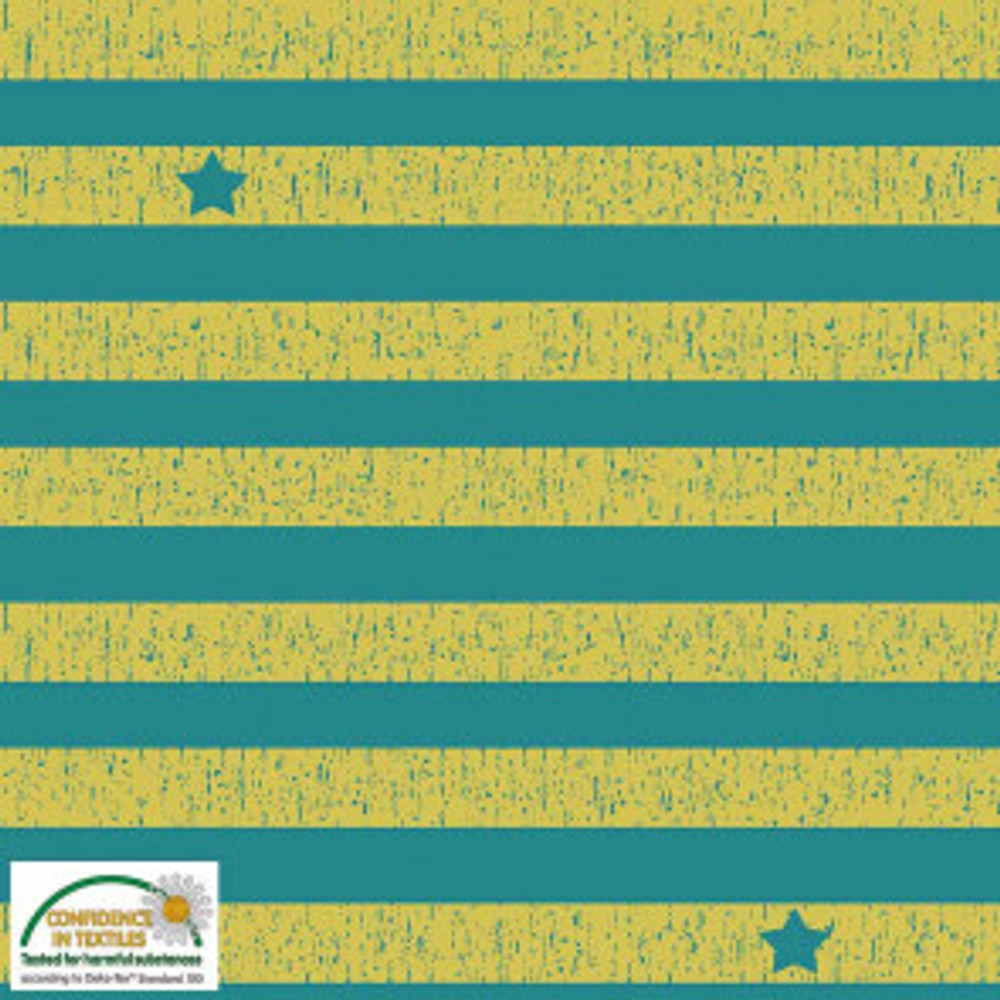 Stof Yellow and Green Stripes on Knit