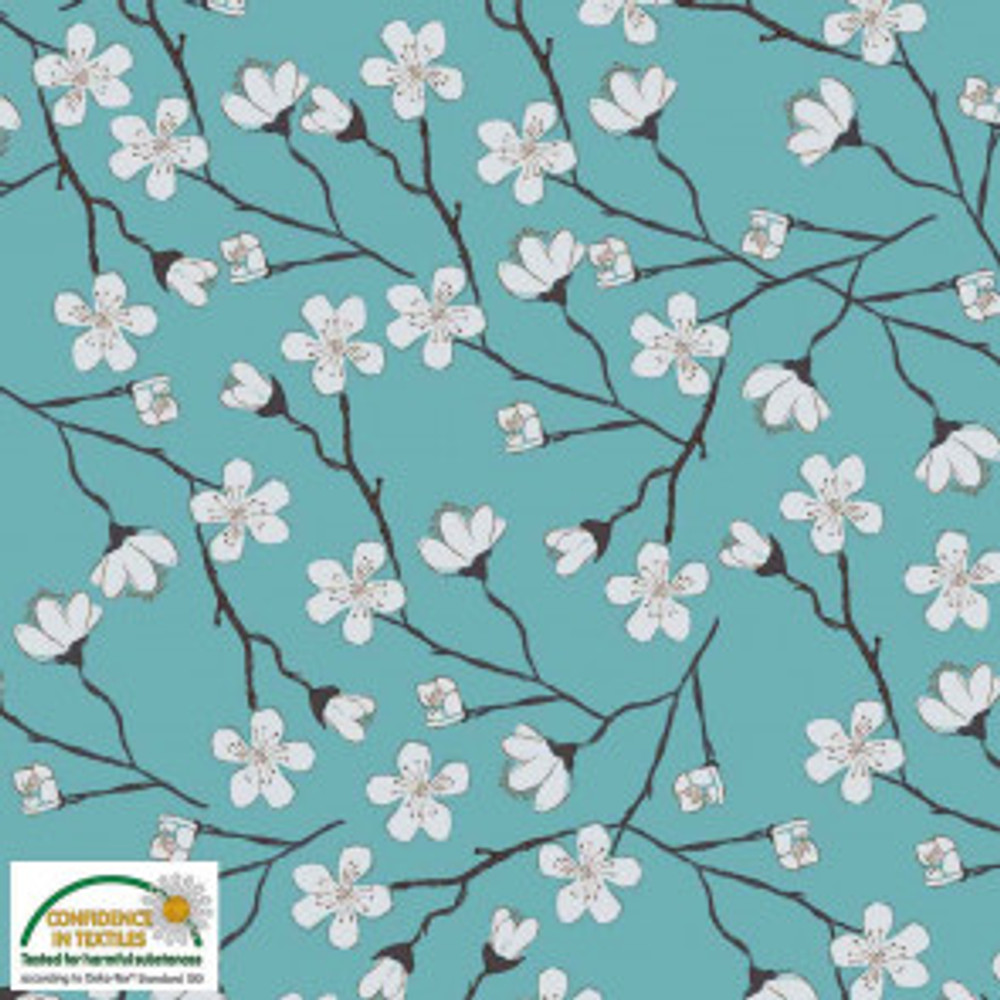 Stof Fabrics White Flowers on Teal Knit