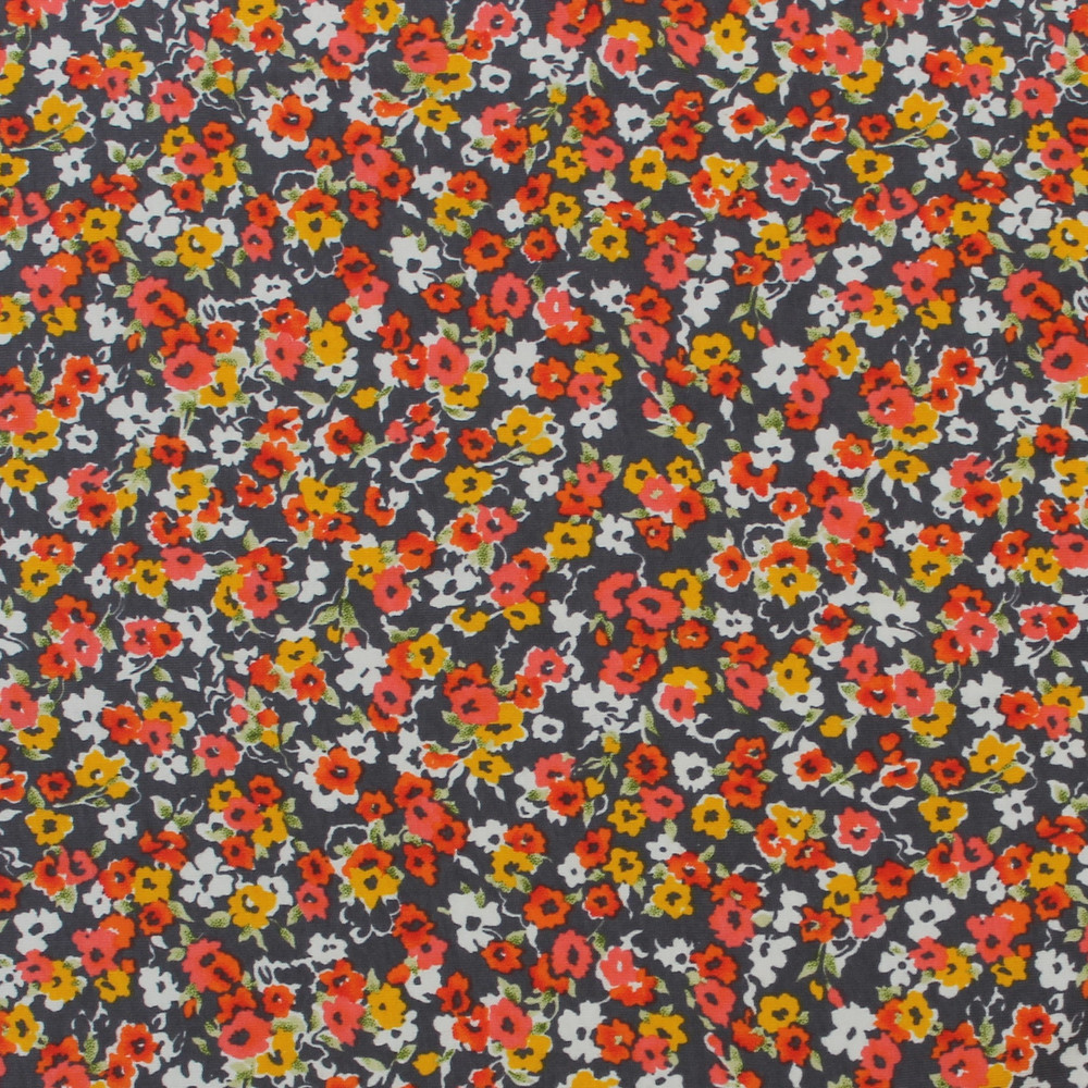 Calico Floral on Gray Cotton Lycra Knit