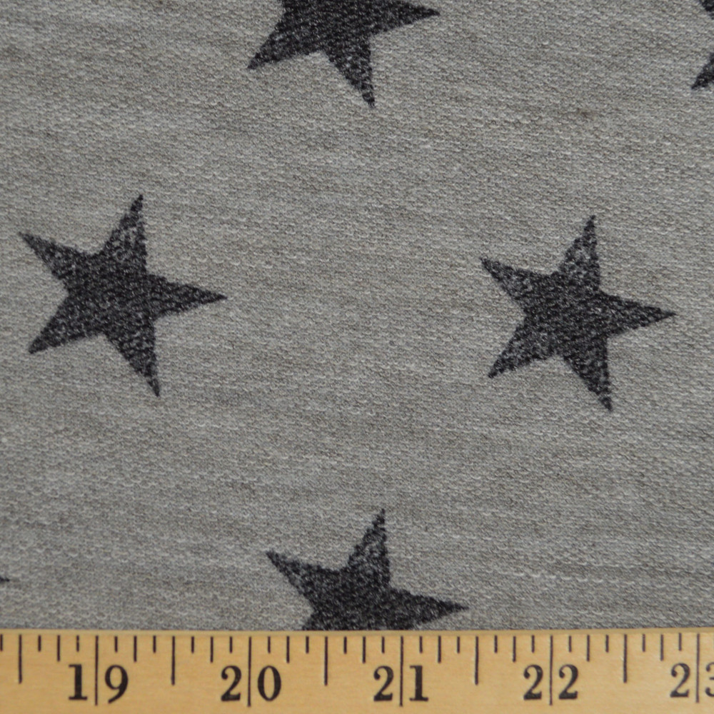 Stars on Gray Reverse French Terry Knit