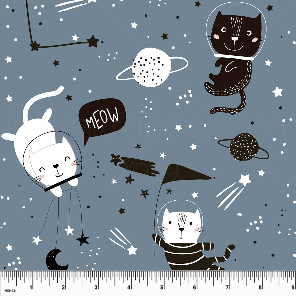 Custom Space Cats Cotton Lycra Knit