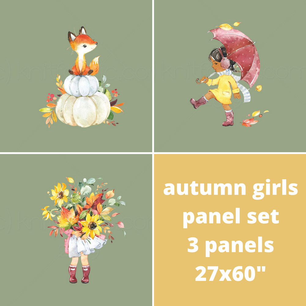 Custom Autumn Girls Cotton Lycra Panel Set