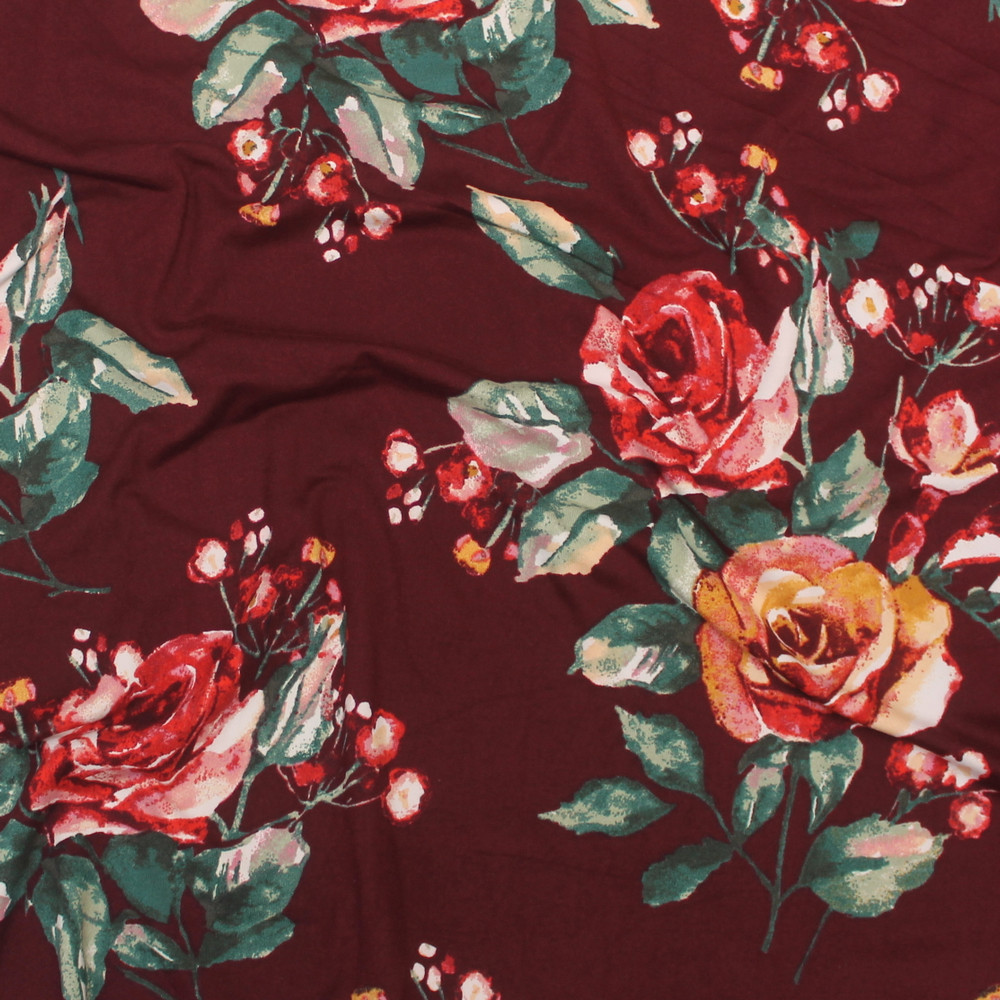 Emma Floral on Burgundy Double Brushed Poly
