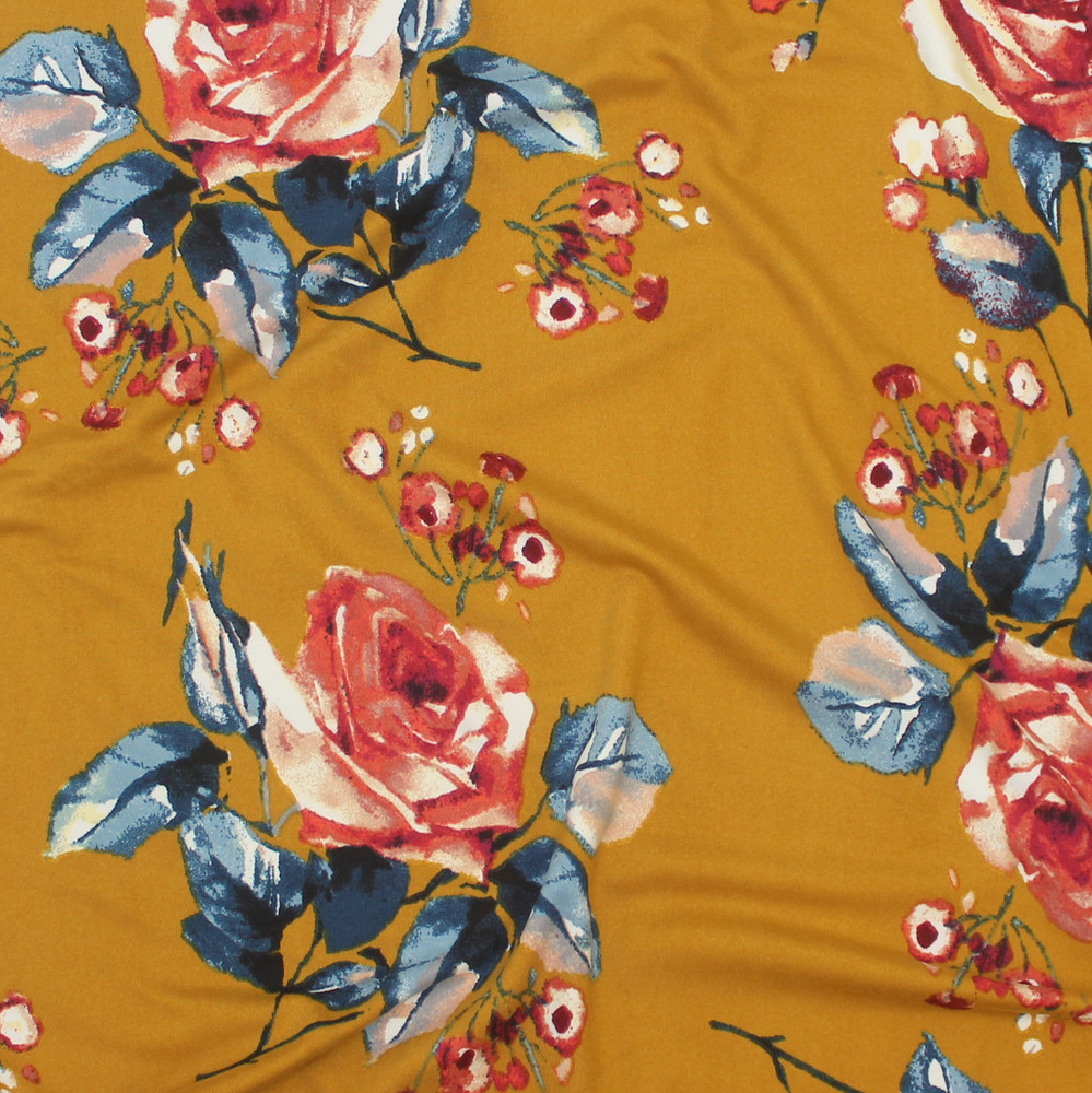 Emma Floral on Mustard Double Brushed Poly