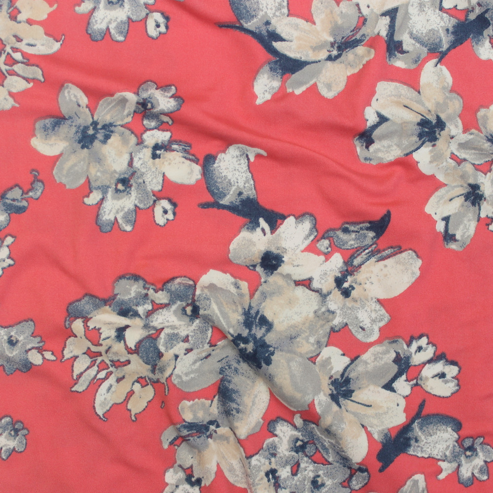 Denim Floral on Coral Double Brushed Poly
