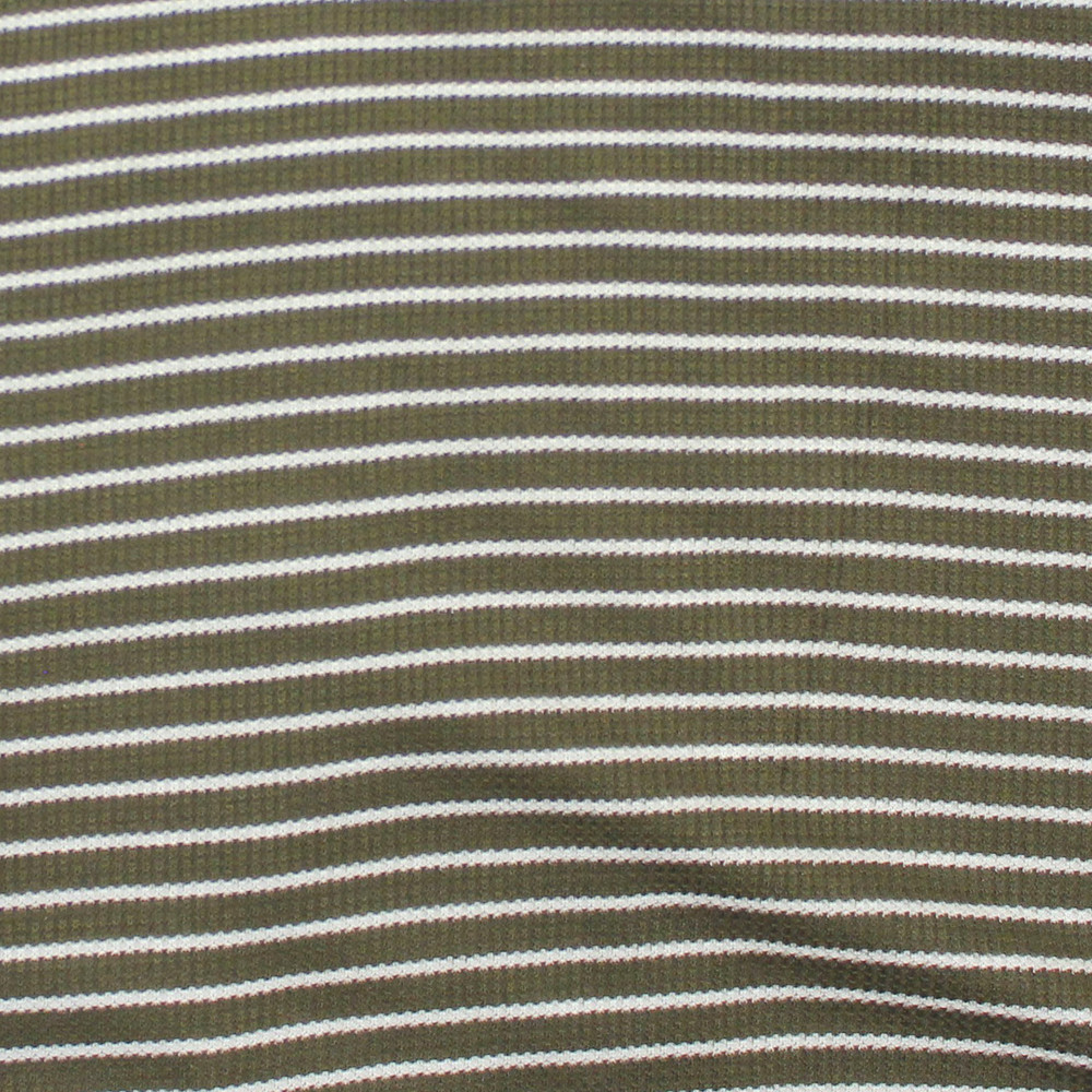 Olive and Ivory Stripe Thermal Knit