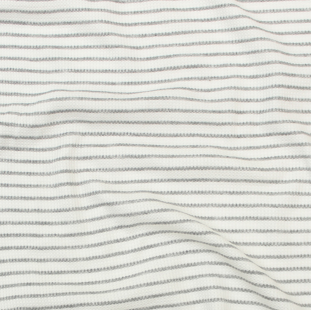 Heather Gray and Ivory Stripe Thermal Knit
