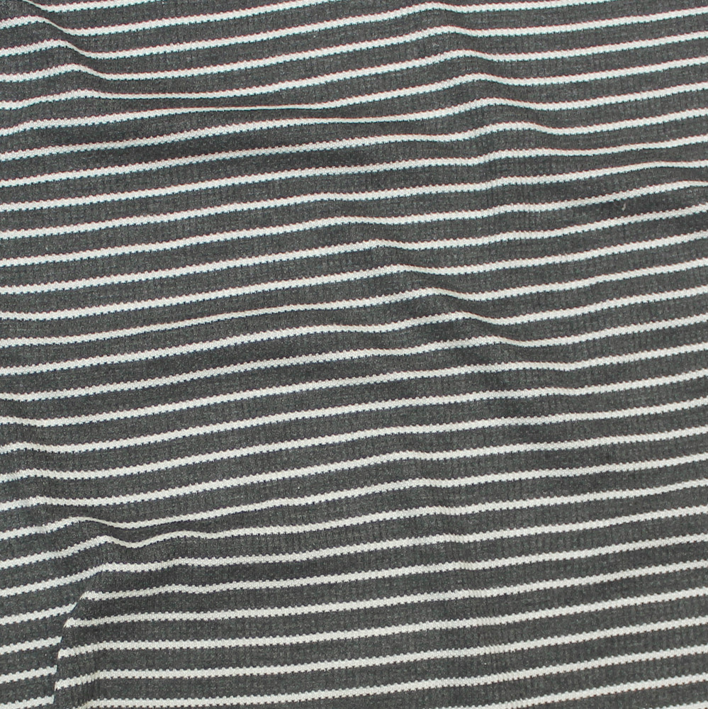 Charcoal and Ivory Stripe Thermal Knit