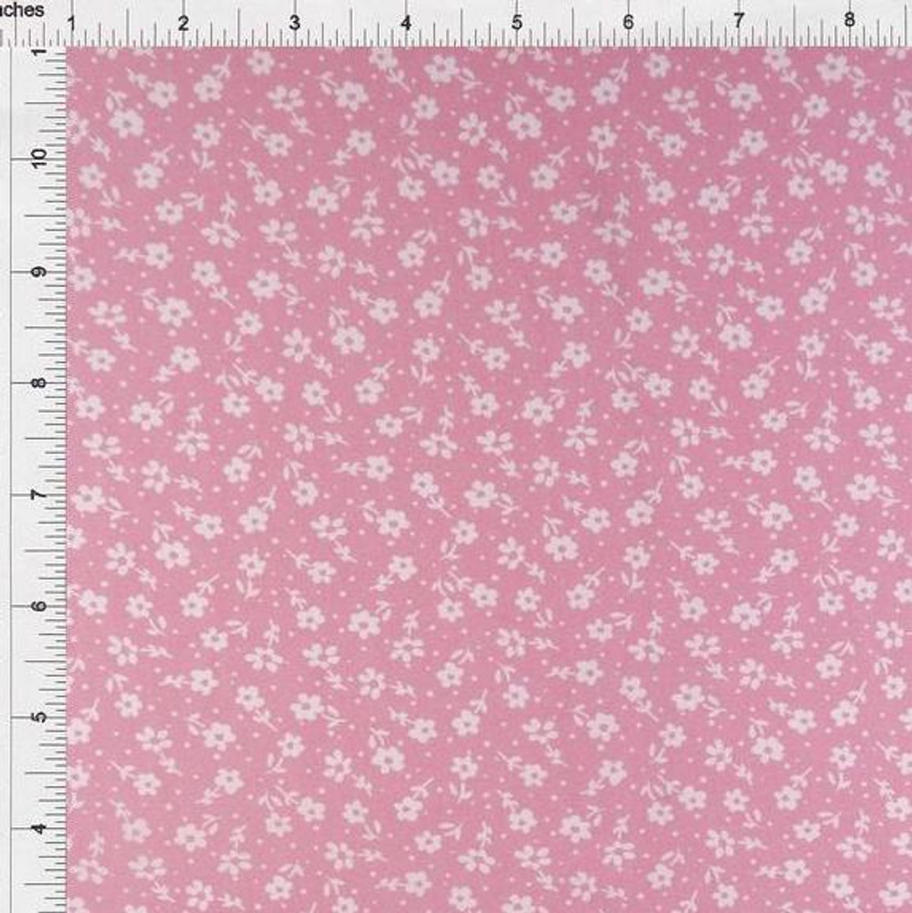 Ditsy Floral on Pink Double Brushed Poly
