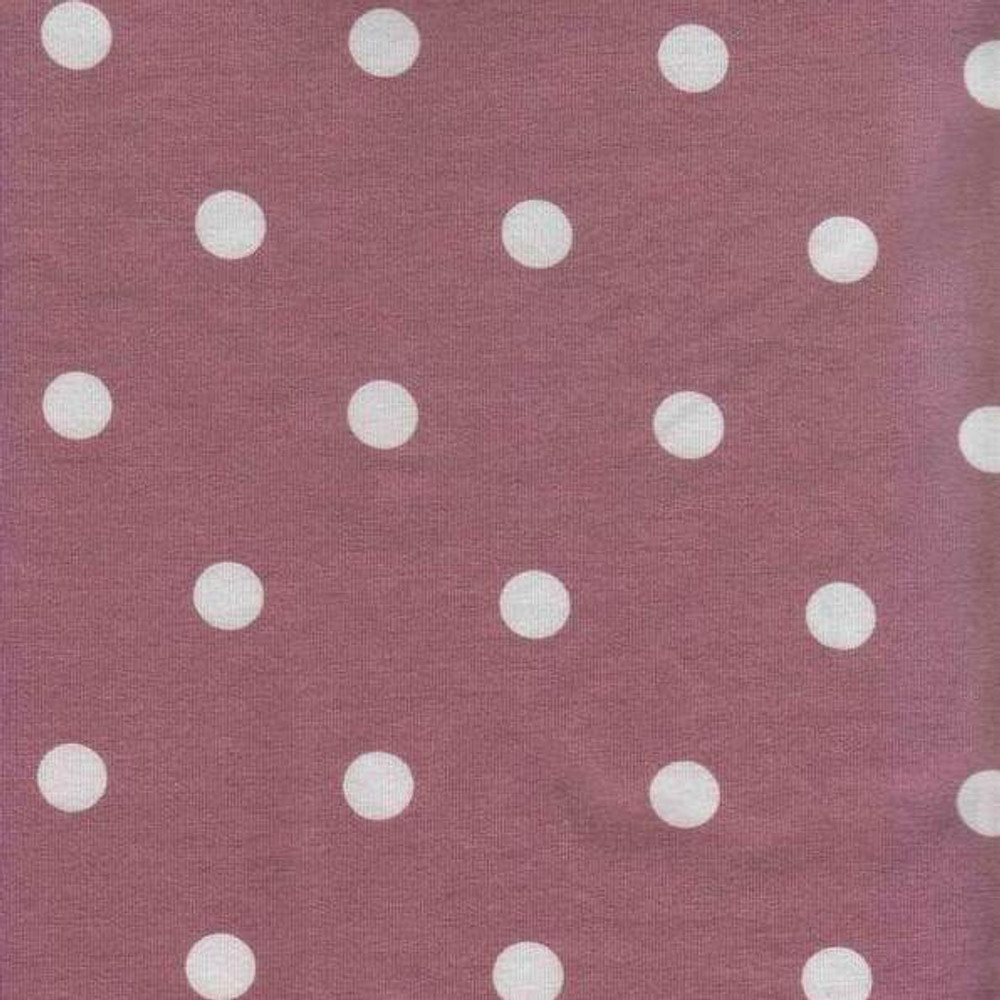 Polka Dots on Mauve French Terry Knit