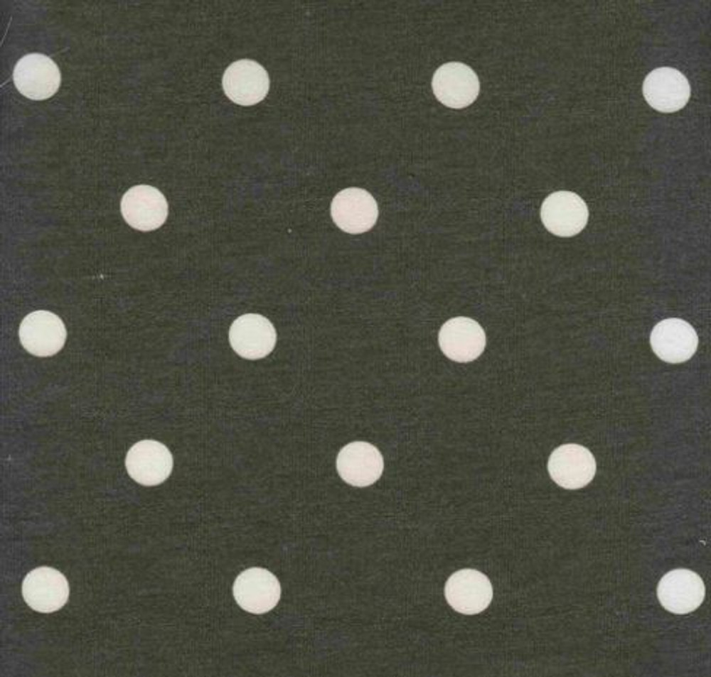Polka Dots on Olive French Terry Knit