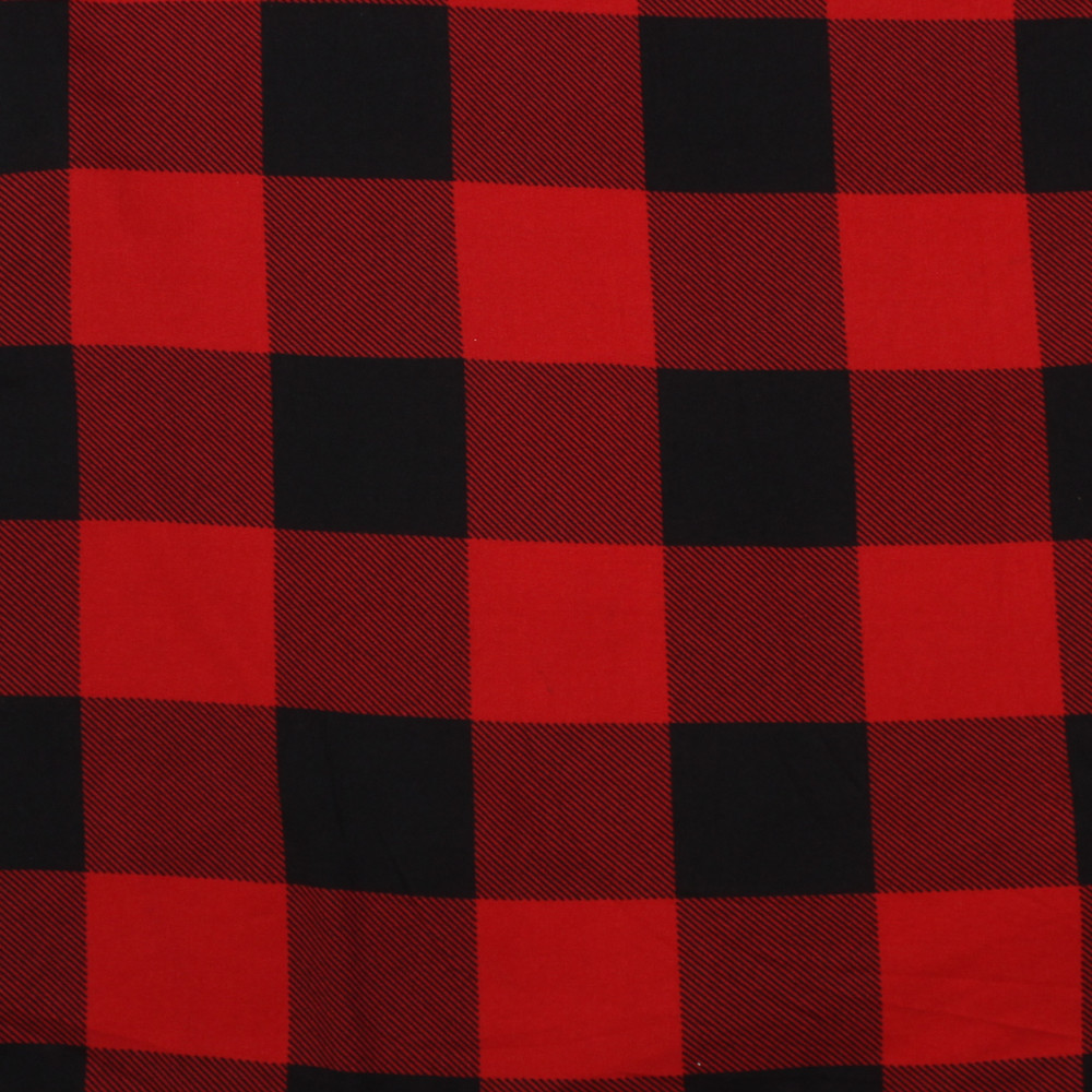 black and red buffalo plaid double brushed poly