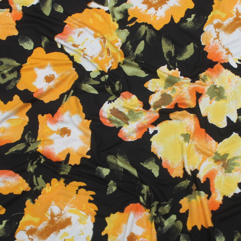 Mustard Floral on Black Double Brushed Poly